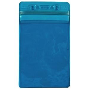 35019-BADGE HOLDER, BLUE, ZIPPER, VERTICAL FORMAT, 3'' x 5'' OD