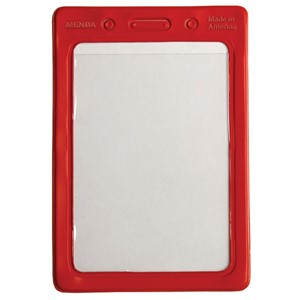 35032-HOLDER, BADGE, COLOR BORDERS, RED, 2-1/8INX3-3/8IN (IS)