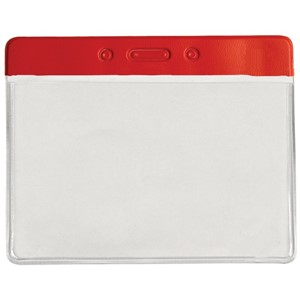 35038-HOLDER, BADGE,COLOR TOP,HORIZ, RED, 4INX3IN (IS)