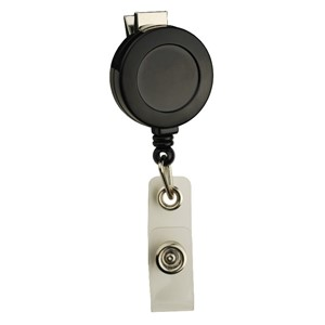 35088-BADGE REEL, ROUND,SWIVEL CLIP, STRAP END FITTING, BLACK