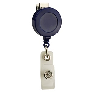 35089-BADGE REEL, ROUND,SWIVEL CLIP, STRAP END FITTING, BLUE