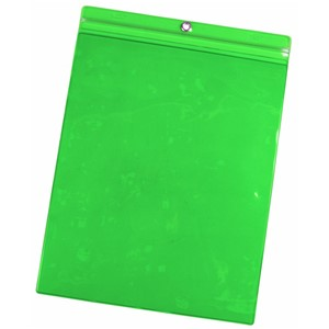 35091-VINYL POUCH, 9-3/4INx13-1/4IN GREEN, PACK OF 25