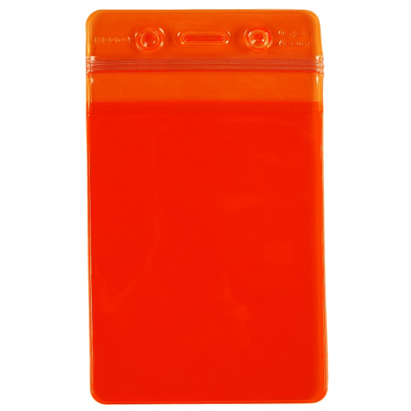 35030-BADGE HOLDER, ORANGE, ZIPPER, VERTICAL FORMAT, 3'' x 5'' OD
