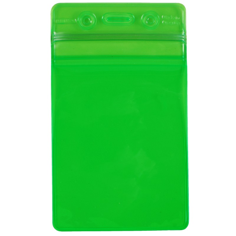 35031-BADGE HOLDER, GREEN, ZIPPER, VERTICAL FORMAT, 3'' x 5'' OD