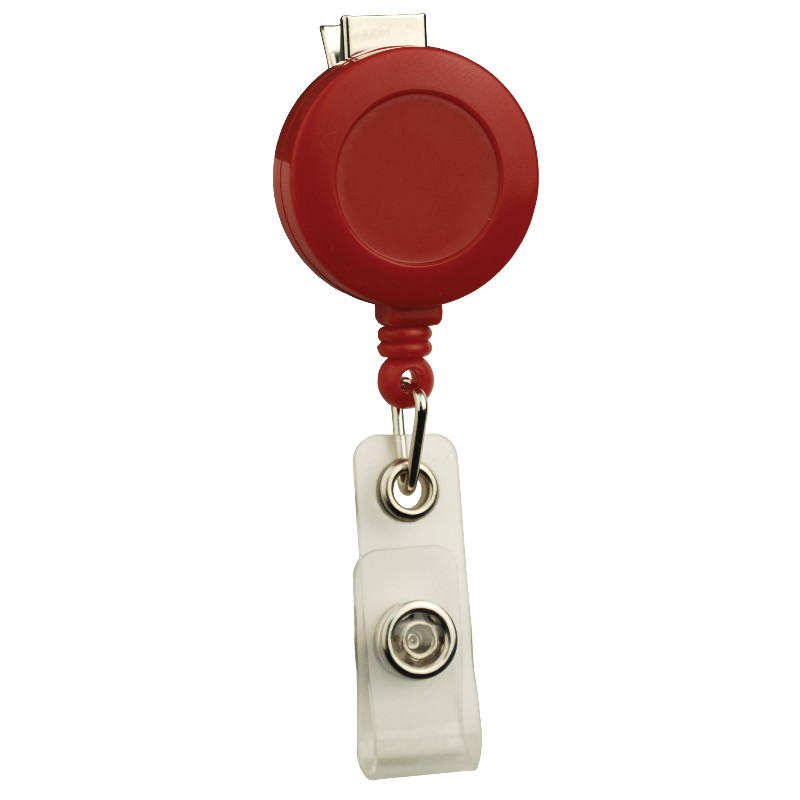 35087-BADGE REEL, ROUND,SWIVEL CLIP, STRAP END FITTING, RED