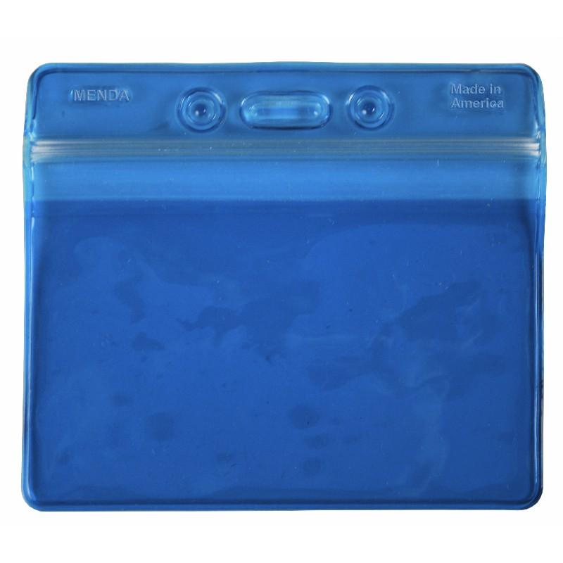 35093-BADGE HOLDER, BLUE, ZIPPER, HORIZ FORMAT, 4-1/4IN x3-5/8IN